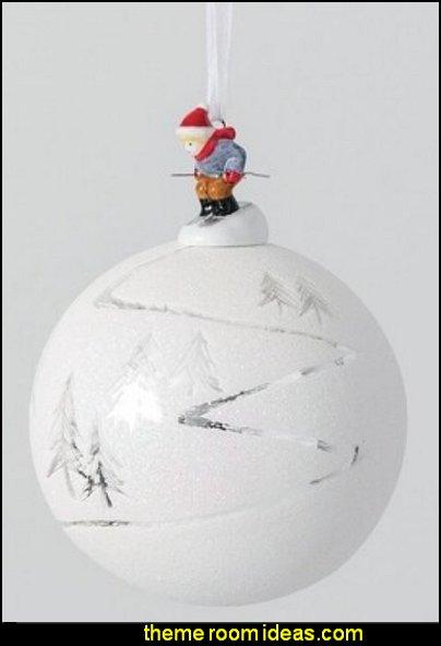 Skier Ball Ornament ski lodge christmas decorations rustic ski cabin style
