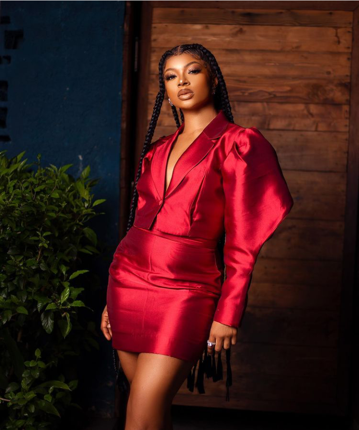 """BBNaija: Liquorose flashes her beauty in new photos, says """"lady in red"""""""