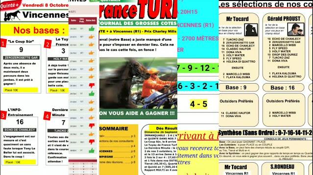 Pronostic quinté+ vendredi Paris-Turf TV-100 % 08/10/2021