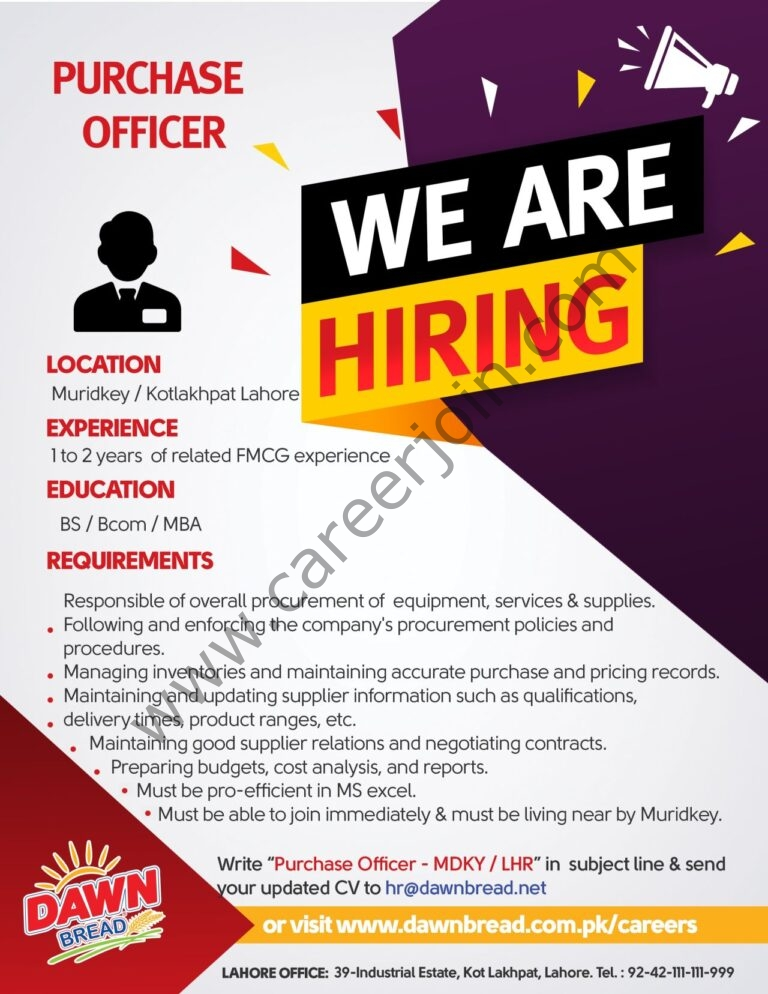 Dawn Bread Jobs Purchase Officer