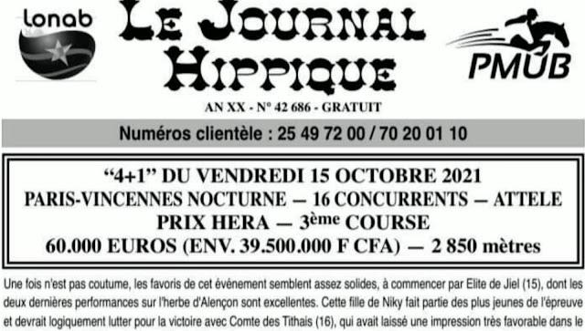 programme quinté Pronostic vendredi 15/10/2021