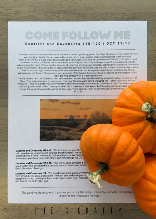 Come Follow Me Printable October 11-17 with Pumpkins