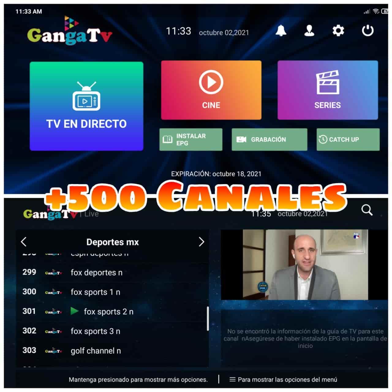 ᐉ GangaTv Box +500 Canales en VIVO, Películas y Series