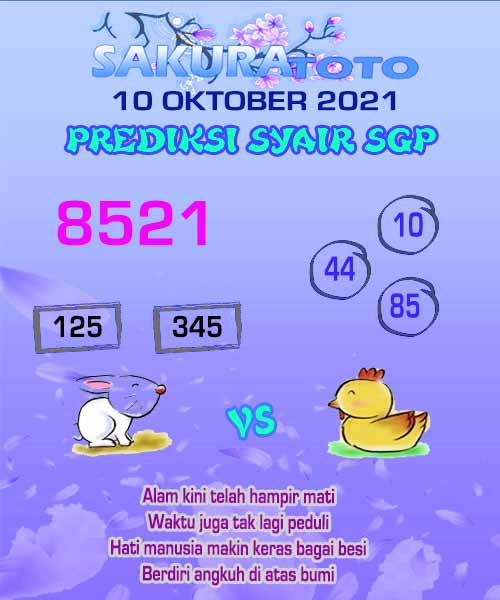 sakura SGP Minggu 10 Oktober 2021