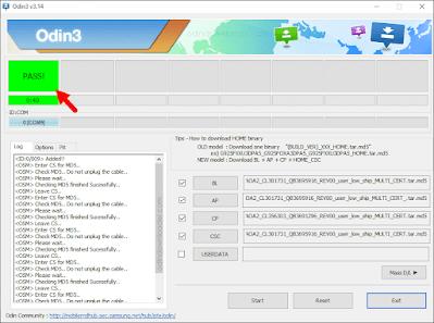 Flashing Odin 4 File Sukses