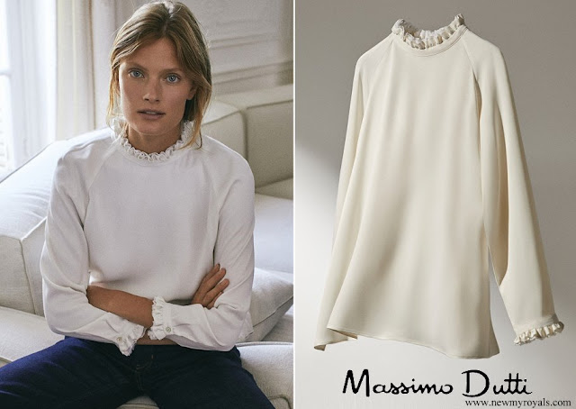 Queen Maxima wore Massimo Dutti Blouse shirt with frilled collar and sleeves