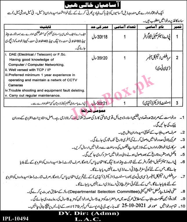 Lahore Arts Council Jobs 2021 in Pakistan