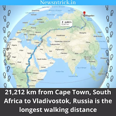 21,212 km is the largest Walking Distance Available on Google Map
