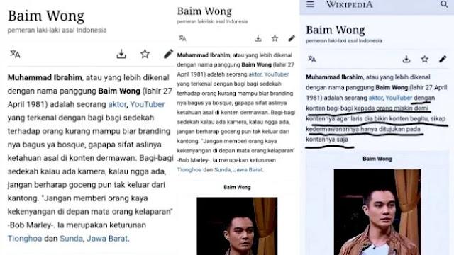Heboh, Profil Baim Wong Berubah Jadi Sindiran di Wikipedia