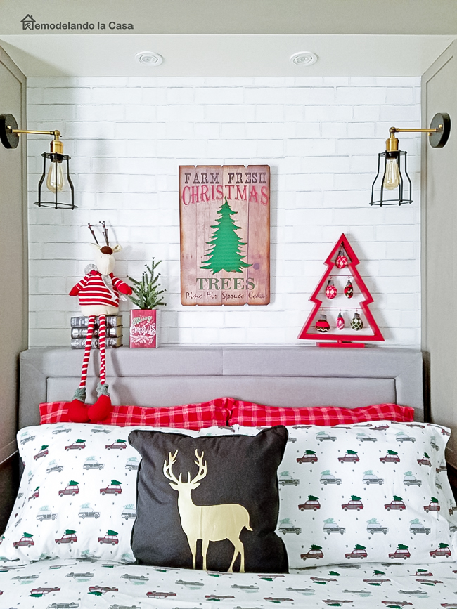 gray and red Christmas bedroom