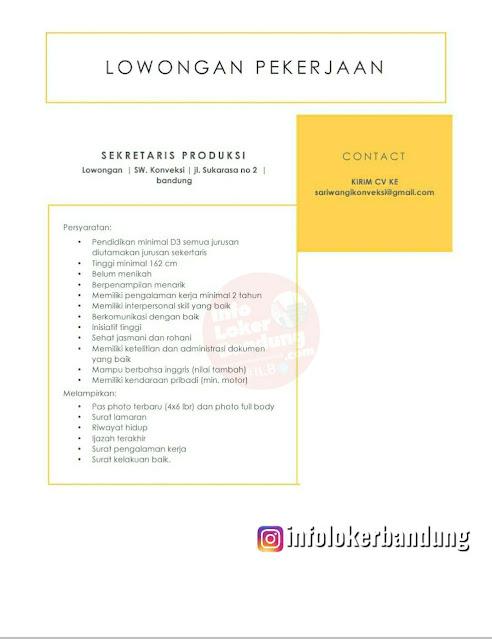 Lowongan Kerja Sekretaris Produksi Sariwangi Konveksi Bandung Agustus 2021