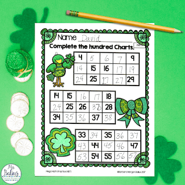 Engage students with seasonal and holiday  based math practice activities like this St. PAtrick's Day practice page
