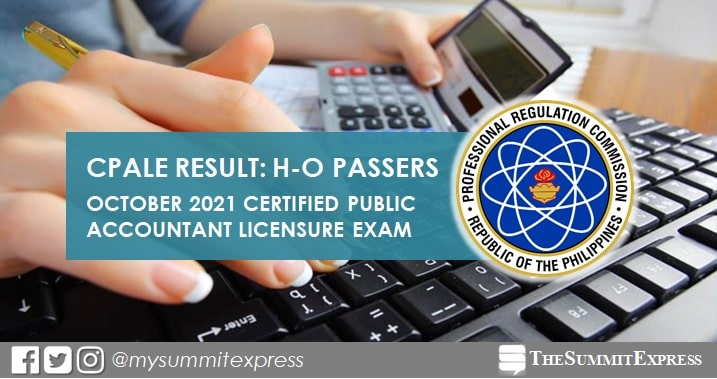 H-O PASSERS: October 2021 CPA board exam result