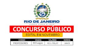 RJ autoriza concurso com 303 vagas na área da educação; edital em novembro
