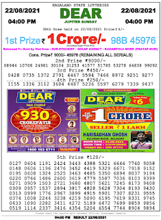 Nagaland lottery Result 22 August 2021,4PM