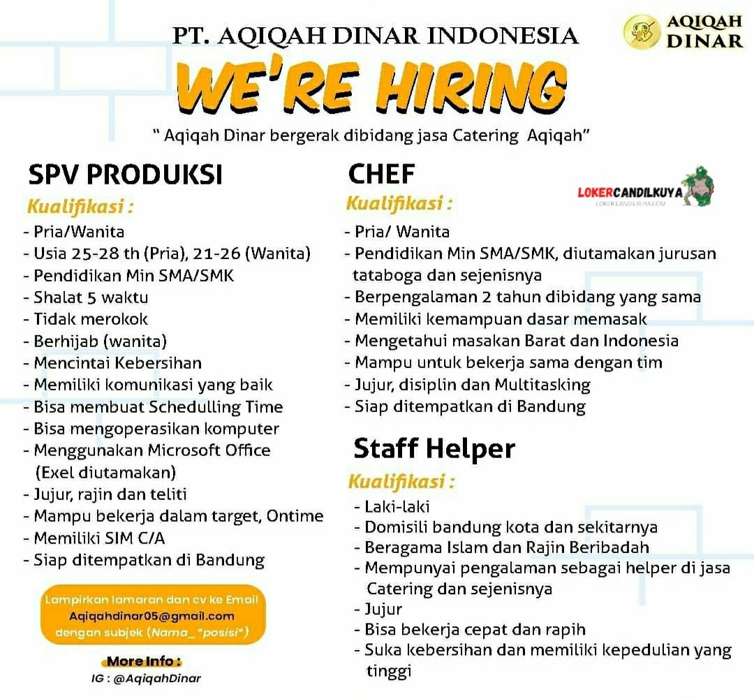 Lowongan Kerja PT Aqiqah Dinar Indonesia