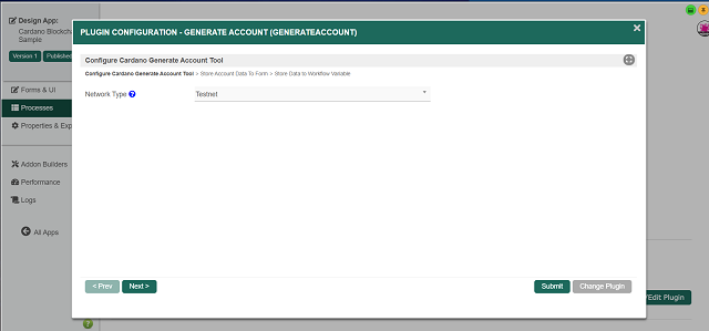 Cardano Generate Account Tool: Selecting Network Type