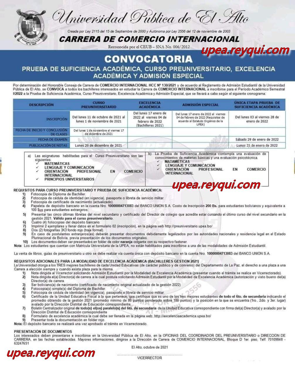 Convocatorias UPEA 2022