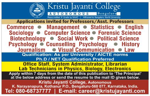KJC Bengaluru Biotech Faculty Jobs