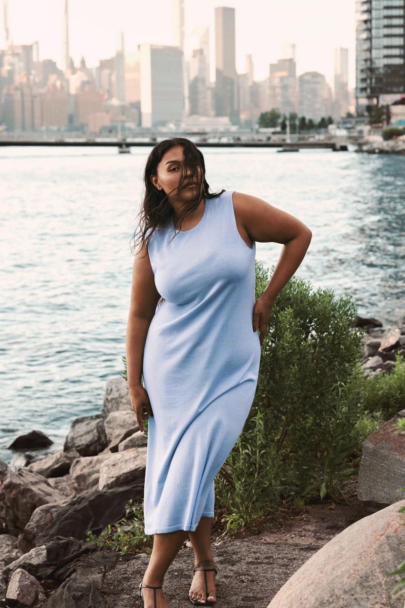 Paloma Elsesser poses in Zara's fall 2021 dress styles.