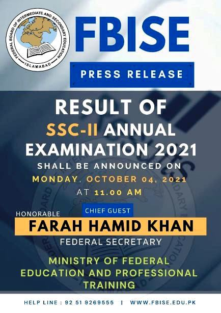 FBISE Matric Result 2021 will be Announced on 4-October-2021