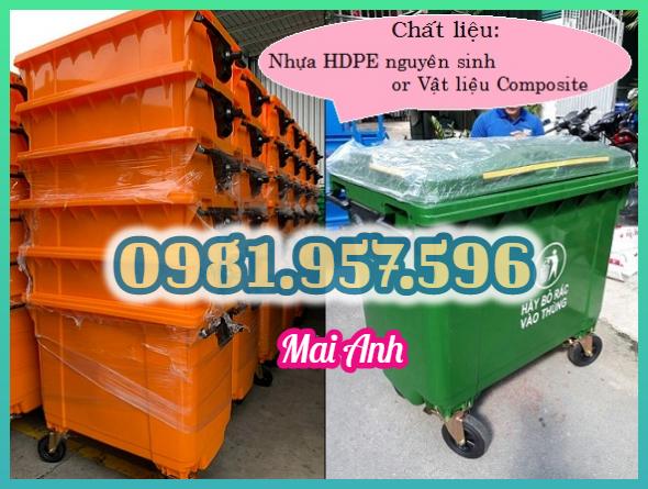 Xe rác nhựa 660L, xe đẩy rác 4 bánh, xe đẩy rác công nghiệp