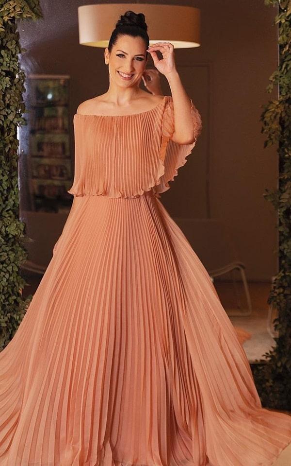 vestido longo terracota plus size