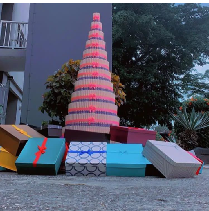 BBNaija: Fans present Saskay with a tall money tower and 30 boxes of gifts (see photos)