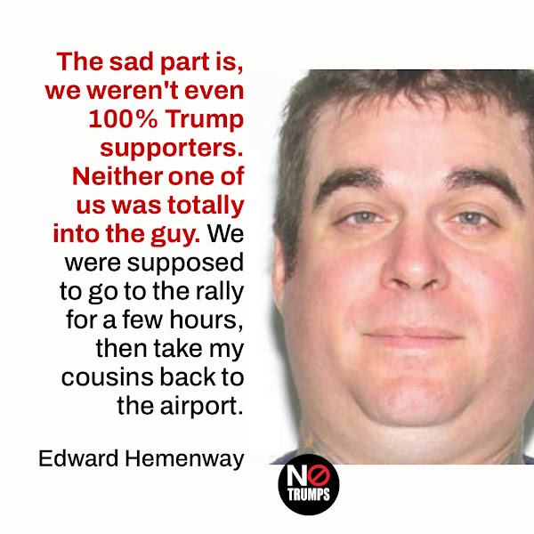 The sad part is, we weren't even 100% Trump supporters. Neither one of us was totally into the guy. We were supposed to go to the rally for a few hours, then take my cousins back to the airport. — Edward Hemenway of Virginia