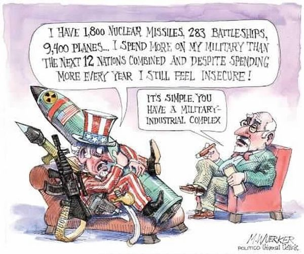 Uncle Sam, clutching a missile and surrounded by guns and other weapons says to a psychiatrist,