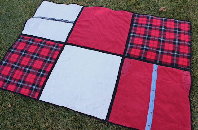 quilt from flannel and fleece shirts
