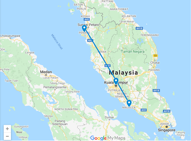 Malaysia Travel Route
