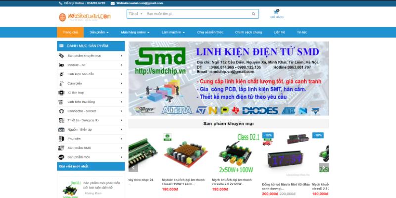 Mẫu website bán linh kiện điện tử miễn phí