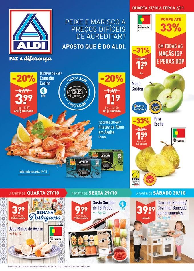 """Folheto ALDI  semanal """"Faz a diferença"""" com Promoções de 27 de outubro a 2 de novembro"""