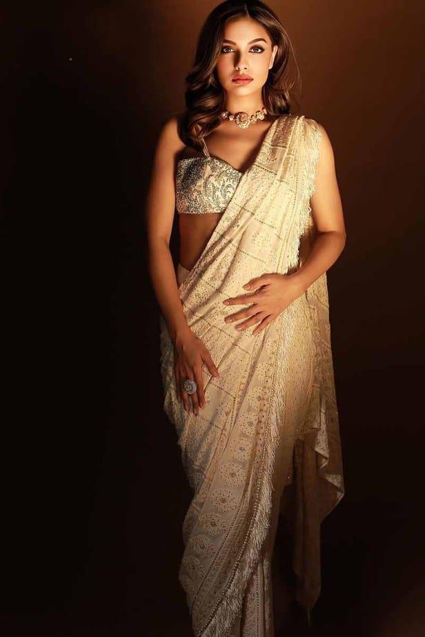 Actress Divya Agarwal Latest Photos in Navratri Saree