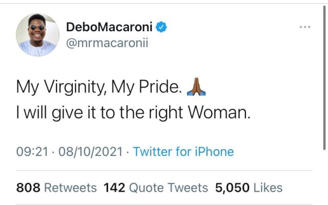 My Virginity, My Pride, I'll give it to the right woman- Comedian Mr Macaroni reveals