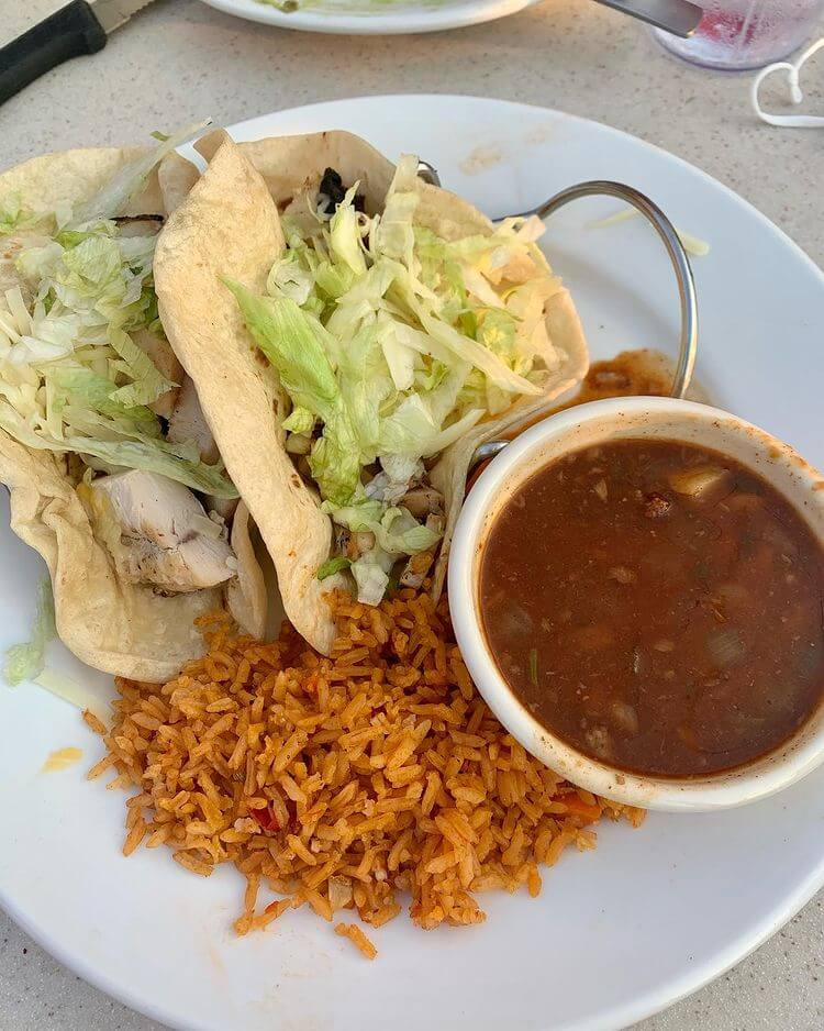 chicken tacos with rice and beans