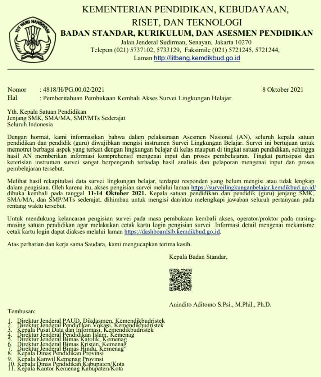 Surat Edaran tentang Guru Wajib Melengkapi Jawaban Survei Lingkungan Belajar pada Asesmen Nasional tahun 2021