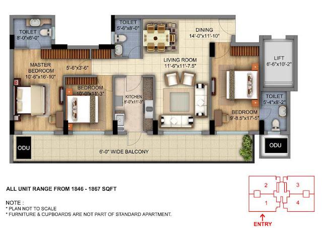 DLF Skycourt 3BHK Type 2 Floor Plan
