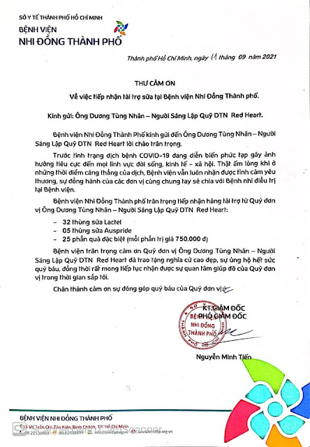 Thư cảm ơn từ Bệnh viện Nhi Đồng đến tấm lòng thiện nguyện của chàng ca sĩ 9X Dương Tùng Nhân cùng CLB