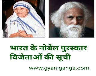 Indian Nobel Prize Winner list । भारत के नोबेल पुरस्कार विजेताओं की सूची