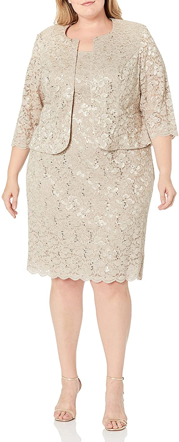 New Champagne - Mother of the Bride Knee Length Dresses With Jackets