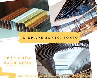 Giá trần nhôm U giả gỗ 30x50, 50x100, báo giá vật tư và thi công trọn gói