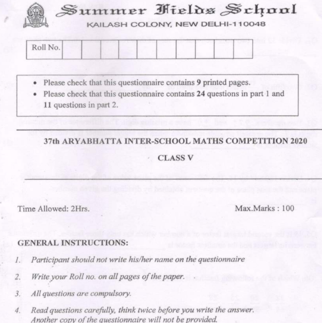 Aryabhatta National Maths Competition Previous Question Papers