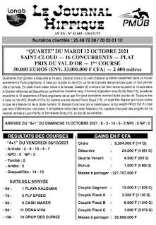 programme quinté Pronostic Mardi 12/10/2021