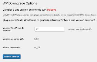 Ingrese la versión de WordPress deseada en el cuadro de texto disponible.