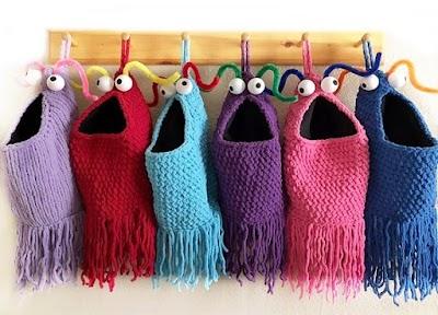 Cestas Yip Yips crochet monstruosas para Halloween