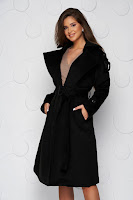 Palton SunShine negru casual lung cu croi larg