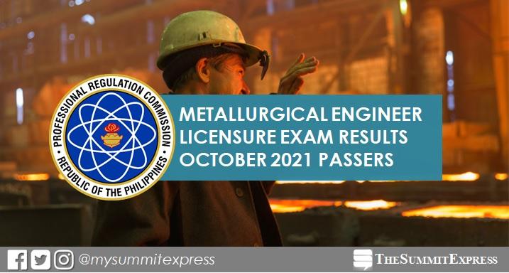 FULL RESULTS: October 2021 Metallurgical Engineer board exam