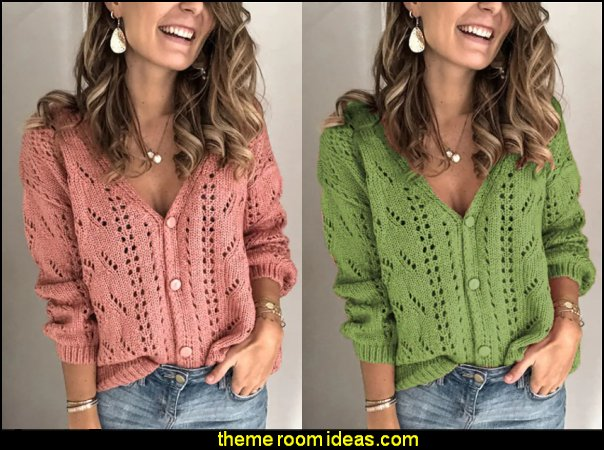 Women's Cardigan Hollow Out Knitted Button Solid Color